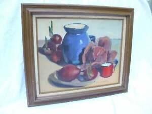 Original Oil Painting Vintage Impressionist Still Life Signed Donald Lynch Onion