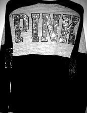 (S) VICTORIA SECRET PINK VARSITY V-NECK T-SHIRT TUNIC BLING!! GREY AND BLACK S