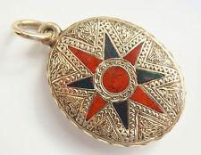 Rare Fine Quality Antique Victorian Scottish 9ct Gold Agate Locket Pendant c1875