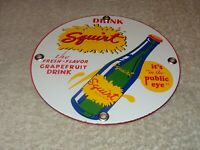 "VINTAGE DRINK SQUIRT W/ BOTTLE 6"" PORCELAIN METAL SODA POP, GASOLINE & OIL SIGN!"