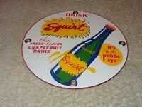 """VINTAGE DRINK SQUIRT W/ BOTTLE 6"""" PORCELAIN METAL SODA POP, GASOLINE & OIL SIGN!"""