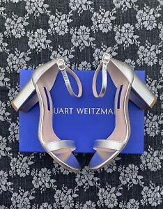 Stuart Weitzman Nearlynude Heels Sandal Silver Metallic Caviar Size 6 W Wide