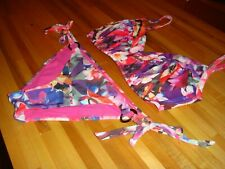 Swim Systems 2pc. Bikini Pink/Purple Flower 34D ADJUSTABLE TOP SIZE M BOTTOMS