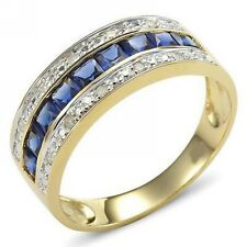 Womens Size 6,7,8,9,10 Band Blue Sapphire 10K Gold Filled Wedding Bridal Rings