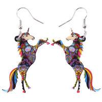 Acrylic Unicorn Horse Earrings Drop Dangle Animal Jewelry For Women Girls Charm