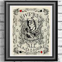 MAD HATTER ART Print DICTIONARY ANTIQUE BOOK PAGE Alice in Wonderland VINTAGE