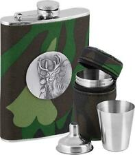 Hip Flask With Glasses And Funnel Stainless Steel  Metal Stag Emblem 230 ml New