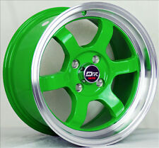 4  DRIFT DR7 RIMS 15X8 4X100 GREEN COROLLA ECHO MR2 TERCEL YARIS VW CABRIO GOLF