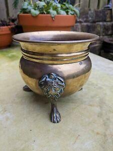 Vintage Brass jardiniere plant pot garden planter window box lions head claw
