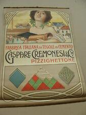 MANIFESTO INSEGNA 1920 GASPARE CREMONESI FABBRICA ITALIANA DI TEGOLE IN CEMENTO