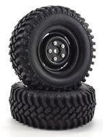 "Apex RC Products 1.9"" Black ""5 Lug"" Wheels + 100mm ""Grinder"" Crawler Tires #6160"