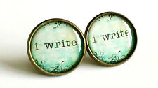 I Write Earrings Antique Bronze Studs Jewellery Writer Books Creative Book NEW