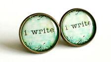 I Write Earrings Antique Bronze Studs Jewellery Writer Books Creative Book NEW