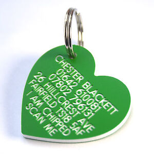 Engraved Plastic pet tag large heart 41mm x 38mm