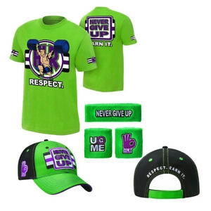 5pcs T Shirt Hat cap Wristbands Sweatband boys mens for John Cena WWE Xmas gift