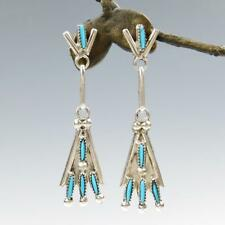 Native American Zuni Sterling Silver Needle Point Turquoise Drop Earrings