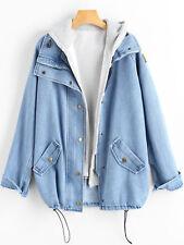 ZAFUL Women Button Up Denim Jacket And Hooded Vest Boyfriend Long Trench Coat