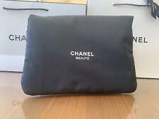 CHANEL Beauty Large Black Satin Cocoon Bag Makeup Bag
