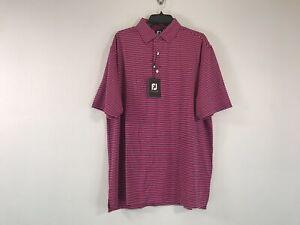 Men's Foot Joy Lisle Feeder Self Collar Short Sleeve Shirt - Size M - Pink