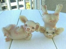 2 Funny Frolicking Pigs Ceramic Figurines- Hogs- Sows-Farm Animals-Piggies