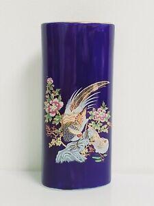 "Ceramic Cobalt Blue with Gold Birds & Flower Tube Vase Small 6"" Made in Japan"