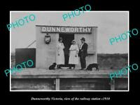 OLD LARGE HISTORIC PHOTO OF DUNNEWORTHY VICTORIA, VIEW OF RAILWAY STATION c1910