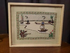 """Aarong Bangladesh  Embroidered Wood Framed Tapestry Very Nice 7""""x 9""""! Super cool"""