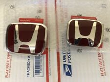 2pcs Set Honda Civic Coupe 2dr 12 15 Jdm Red H Front Rear Type R Grille Emblem Fits 2012 Honda Civic
