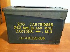 Vintage Army Military M19A1 Ammo Can for 7.62mm .30 Caliber Blank Cartridges
