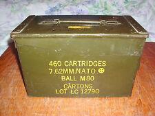 VINTAGE 460 CARTRDGES 7.62 MM BALL M80 US ARMY MILITARY COMBAT AMMO BOX