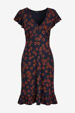 NEXT Navy Floral Print Flute Sleeve Tea Dress Size 18 BNWT Holiday Party Work