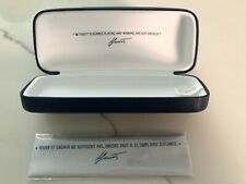 New Lacoste Sunglasses Case Only Navy Blue Faux Leather Hardcase with Lens Cloth