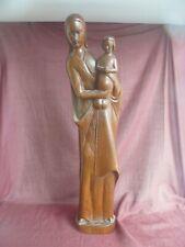 große Holzfigur Madonna geschnitzt 53 cm Braun Maria Jesus Christus Figur Holz