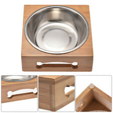Elevated Pet Feeder Dog Cat Raised Bowl Dish Tray Food Feed Bamboo Stand (Large)