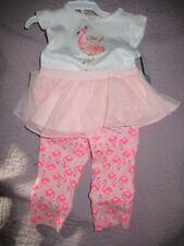 nwt Carter's pink flamingo Daddy's girl top tutu legging set baby girl 6 m