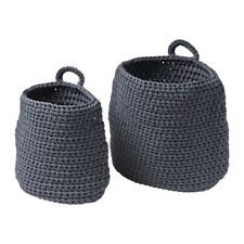 2 X IKEA NORDRANA Knitted Style Handmade Grey Bathroom Storage Baskets BNWT