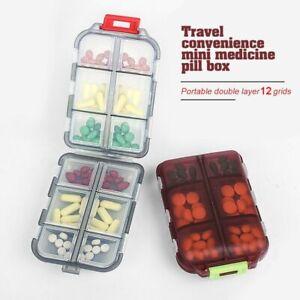 12 Grids Pill Box Travel Convenient Medicine Dispenser Organizer Tablet Case