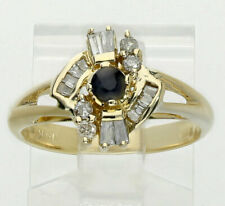 Diamond sapphire abstract ring 14K yellow gold round brilliant baguette .50CT!