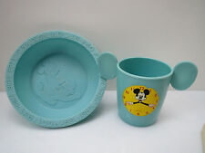RARE 1950's Mickey Mouse Friends ALPHABET & NUMBERS Cereal Bowl & Cup CLOCK TIME