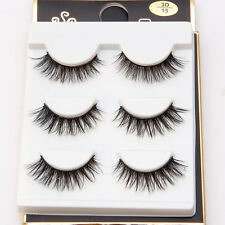 3D Black Thick Cross False Eyelashes Makeup 3 Pairs Long Fake Lashes Extension