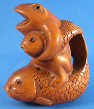 "Signed Netsuke Carved Boxwood Bead Frog & Two Fish 1-3/4"" 'prosperity'"