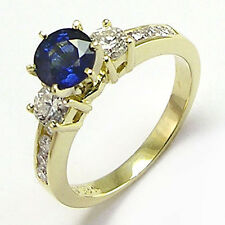 Ceylon blue Sapphire and diamond  Engagement ring 18k Solid Gold #R656