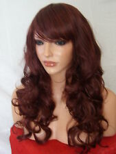 Red Brown signore parrucca piena riccia partito dall'aspetto naturale Cosplay Parrucca BELLISSIMO B18