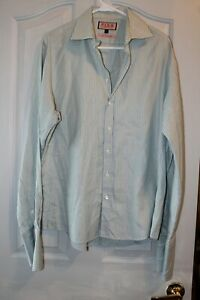 Thomas Pink Mens 16.5 / 42 Prestige Blue and Green Striped French Cuff Shirt