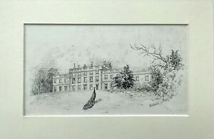 Signed Original Antique Ink Drawing Cannon Hall Cawthorne Picturesque Yorkshire