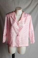 Women's LORI by AM Casuals Pink Embroidered Light Poly/Cotton Jacket Blouse Sz M