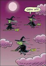 Leanin' Tree Halloween Card  - Witches On Brooms Showing Off Theme - ID#521