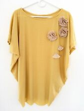 New Women's Yellow Batwing Sleeves Loose Flowers Top Blouse Dress XS S M L XL