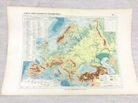 1888 Antique Map of Europe European Physical Hypsometric FRENCH 19th Century
