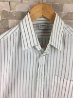 St Michael Mens 15 Collar Shirt Long Sleeve Striped Green M&S